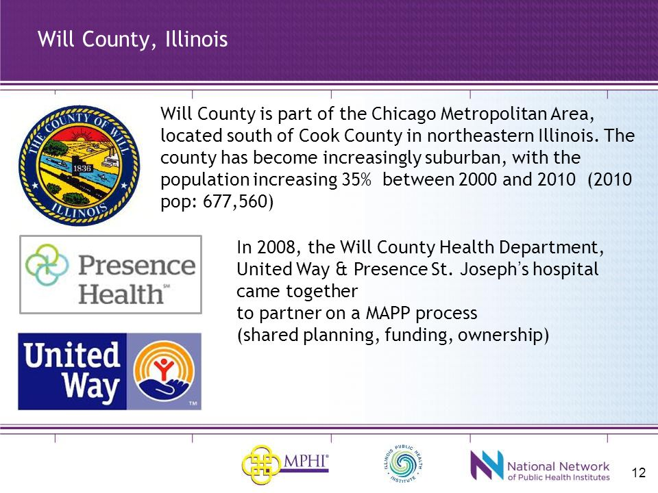 12 Will County, Illinois Will County is part of the Chicago Metropolitan Area, located south of Cook County in northeastern Illinois.