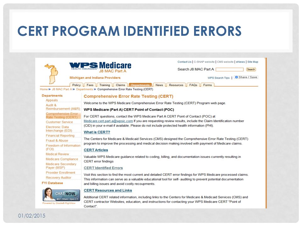 CERT PROGRAM IDENTIFIED ERRORS 01/02/2015