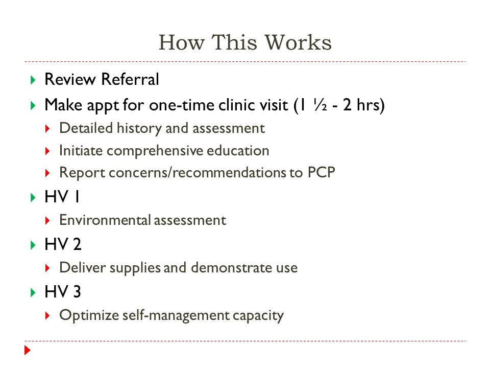 How This Works  Review Referral  Make appt for one-time clinic visit (1 ½ - 2 hrs)  Detailed history and assessment  Initiate comprehensive education  Report concerns/recommendations to PCP  HV 1  Environmental assessment  HV 2  Deliver supplies and demonstrate use  HV 3  Optimize self-management capacity