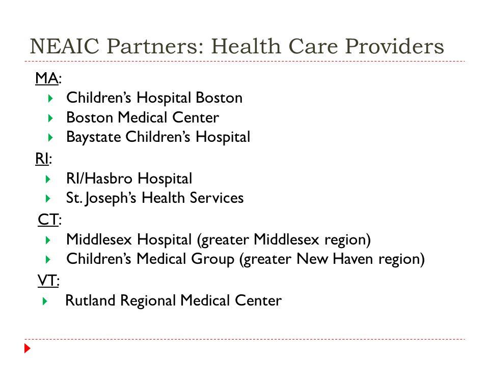 NEAIC Partners: Health Care Providers MA:  Children's Hospital Boston  Boston Medical Center  Baystate Children's Hospital RI:  RI/Hasbro Hospital