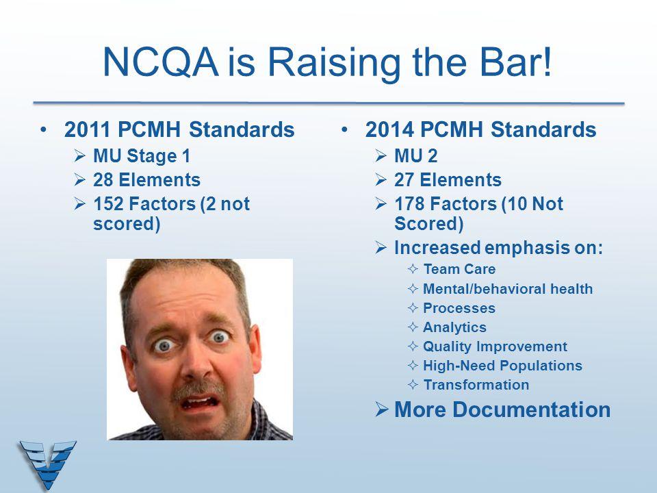 NCQA is Raising the Bar! 2011 PCMH Standards  MU Stage 1  28 Elements  152 Factors (2 not scored) 2014 PCMH Standards  MU 2  27 Elements  178 Fa