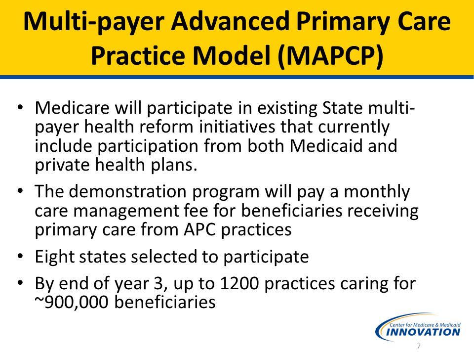 A major barrier to transformation in practice is transformation in payment Will test two models simultaneously: Practice Redesign Provision of core primary care functions Better use of data Payment Redesign PBPM care management fee Shared Savings opportunity Comprehensive Primary Care Initiative 8