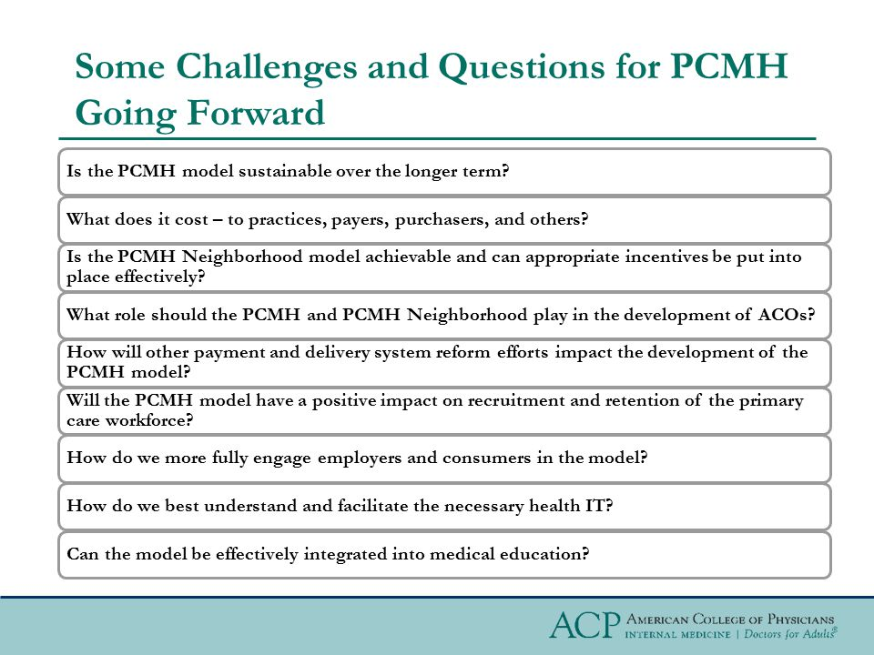 Some Challenges and Questions for PCMH Going Forward Is the PCMH model sustainable over the longer term?What does it cost – to practices, payers, purc