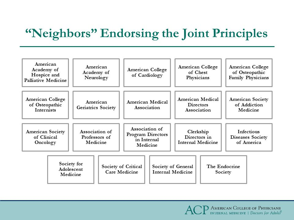 """""""Neighbors"""" Endorsing the Joint Principles American Academy of Hospice and Palliative Medicine American Academy of Neurology American College of Cardi"""
