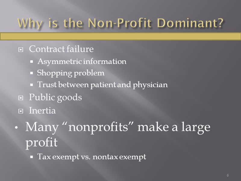 " Contract failure  Asymmetric information  Shopping problem  Trust between patient and physician  Public goods  Inertia Many ""nonprofits"" make a"