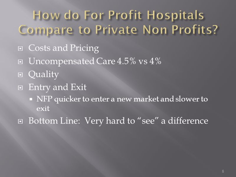  Costs and Pricing  Uncompensated Care 4.5% vs 4%  Quality  Entry and Exit  NFP quicker to enter a new market and slower to exit  Bottom Line: V