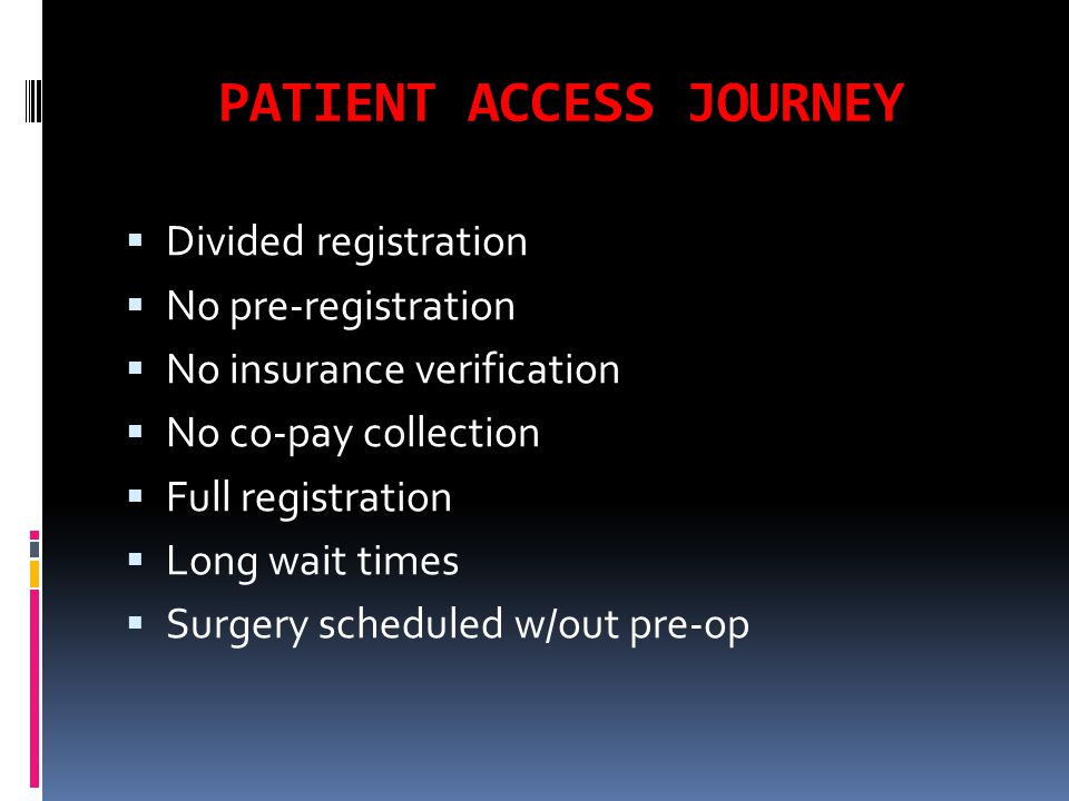 PATIENT ACCESS TURNS THE SHIP  Implement pre-registration  On-line payments  Quality control over registration  Assembly line for patient packets  Developed check-in process  Assumed registration for diagnostic testing  Assumed registration for clinic services