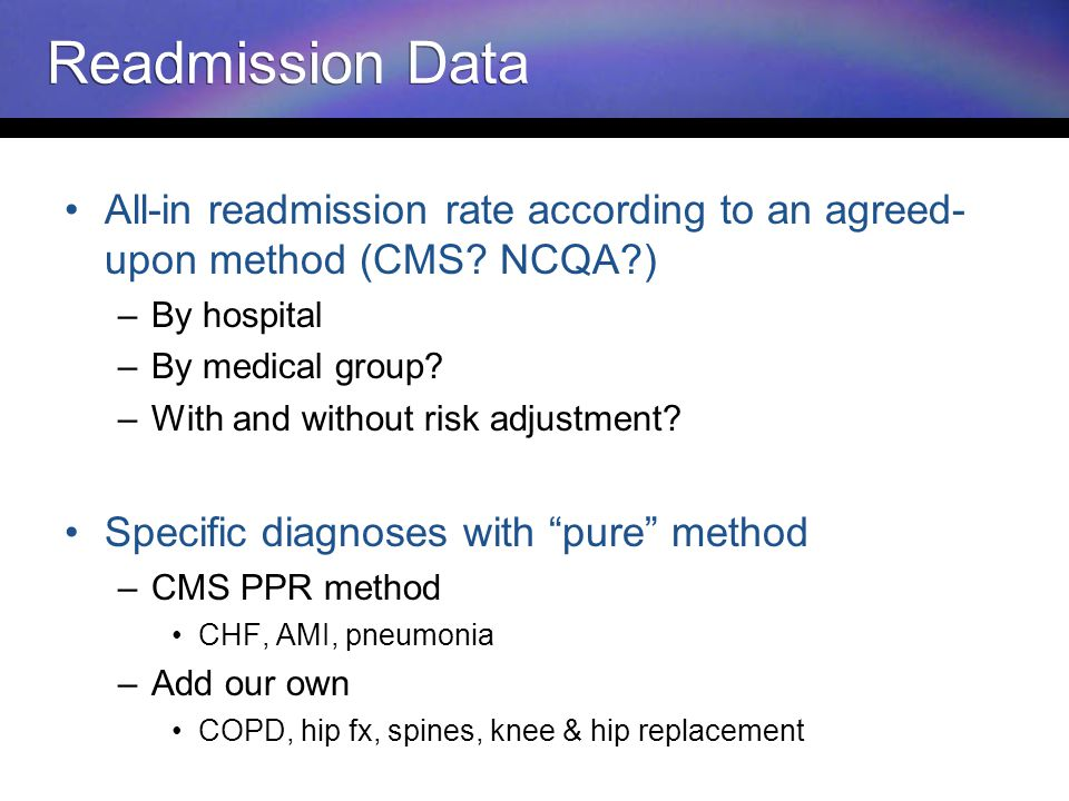 Readmission Data All-in readmission rate according to an agreed- upon method (CMS.