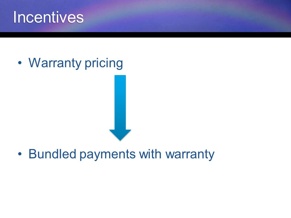 Warranty pricing Bundled payments with warranty Incentives
