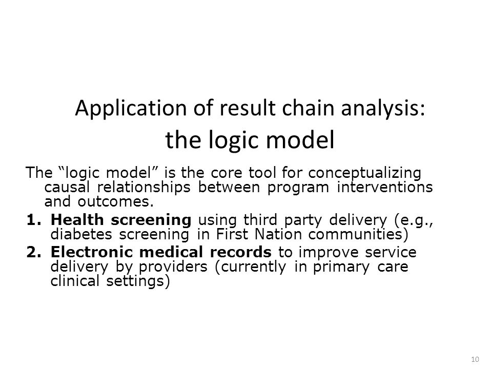 """Application of result chain analysis: the logic model The """"logic model"""" is the core tool for conceptualizing causal relationships between program inte"""