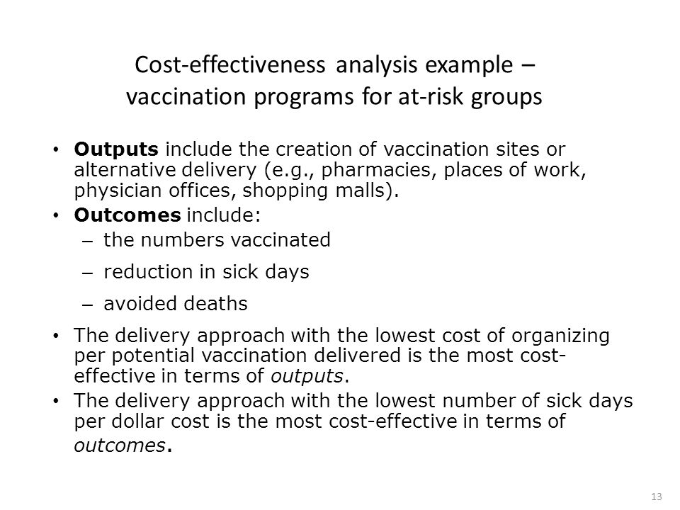 Cost-effectiveness analysis example – vaccination programs for at-risk groups Outputs include the creation of vaccination sites or alternative delivery (e.g., pharmacies, places of work, physician offices, shopping malls).