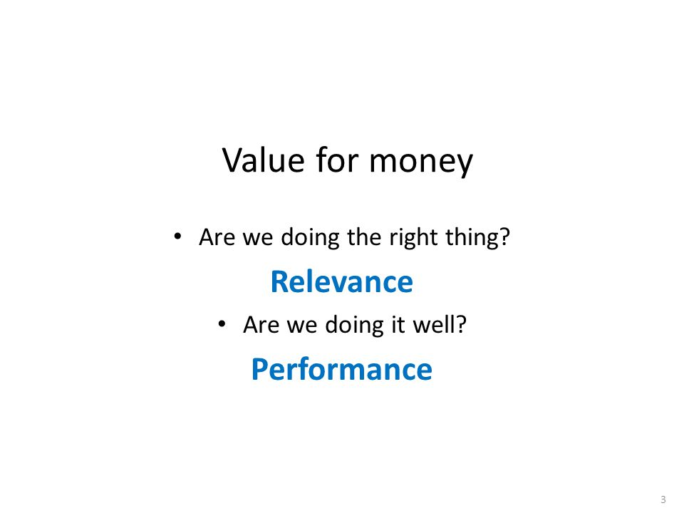 Value for money Are we doing the right thing Relevance Are we doing it well Performance 3