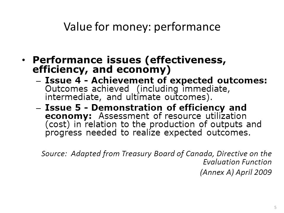 Performance issues (effectiveness, efficiency, and economy) – Issue 4 - Achievement of expected outcomes: Outcomes achieved (including immediate, intermediate, and ultimate outcomes).