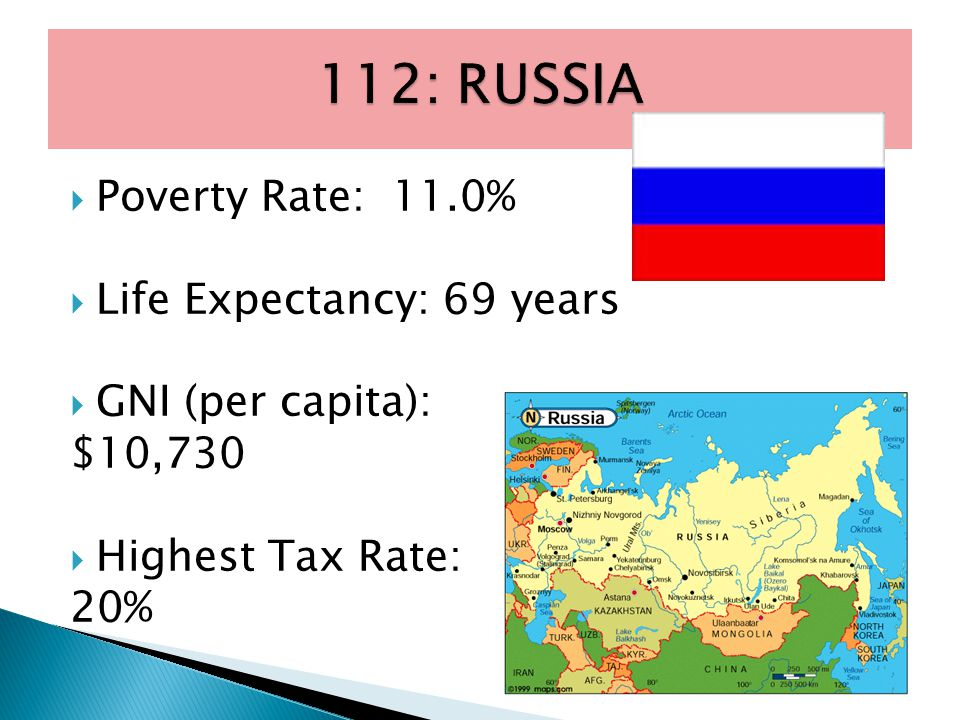  Poverty Rate: 11.0%  Life Expectancy: 69 years  GNI (per capita): $10,730  Highest Tax Rate: 20%