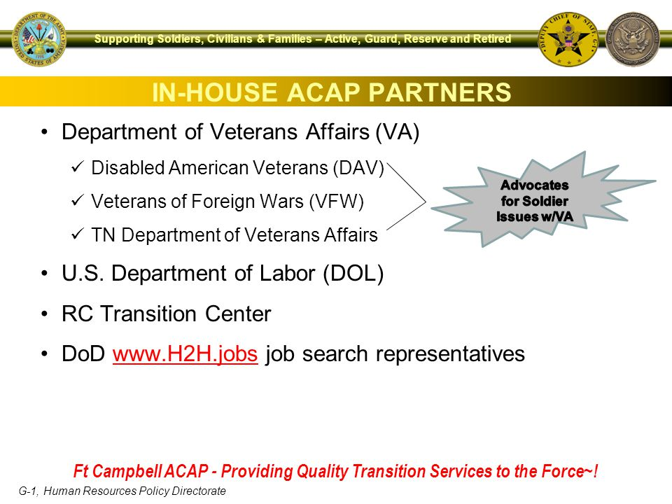 G-1, Human Resources Policy Directorate Supporting Soldiers, Civilians & Families – Active, Guard, Reserve and Retired Department of Veterans Affairs