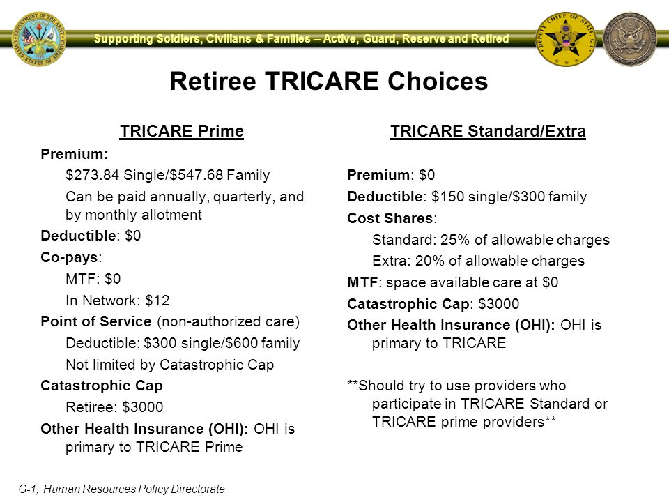 G-1, Human Resources Policy Directorate Supporting Soldiers, Civilians & Families – Active, Guard, Reserve and Retired Retiree TRICARE Choices TRICARE