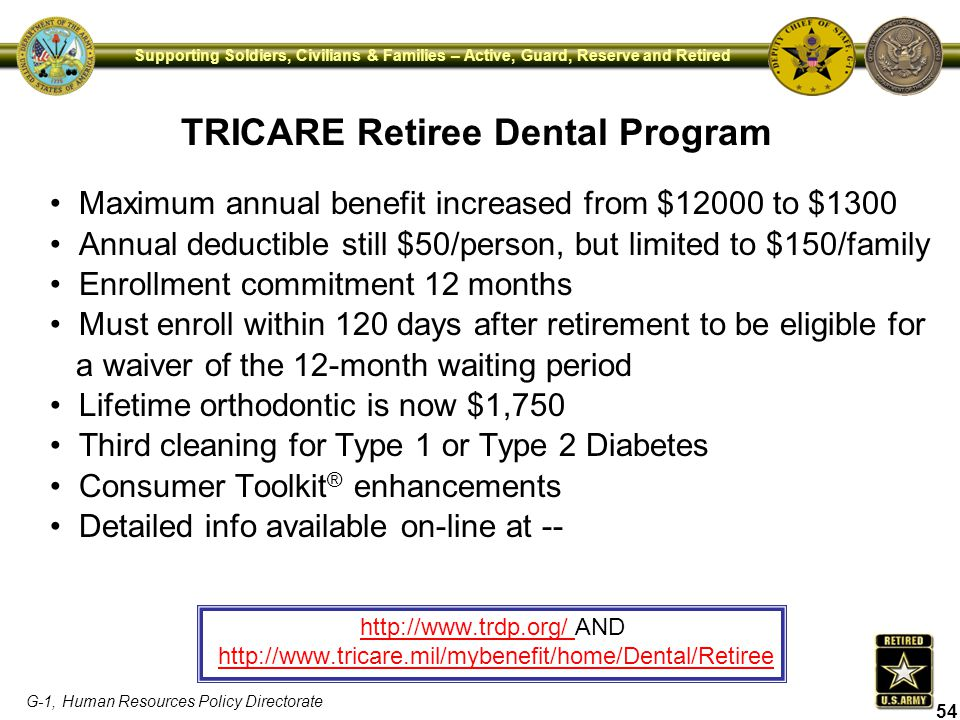 G-1, Human Resources Policy Directorate Supporting Soldiers, Civilians & Families – Active, Guard, Reserve and Retired TRICARE Retiree Dental Program