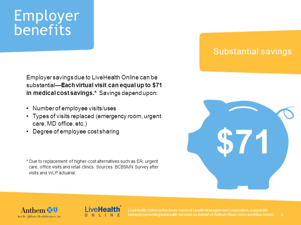 Substantial savings Employer savings due to LiveHealth Online can be substantial—Each virtual visit can equal up to $71 in medical cost savings.* Savings depend upon: Number of employee visits/uses Types of visits replaced (emergency room, urgent care, MD office, etc.) Degree of employee cost sharing * Due to replacement of higher-cost alternatives such as ER, urgent care, office visits and retail clinics.