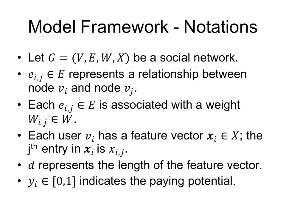 Model Framework - Notations