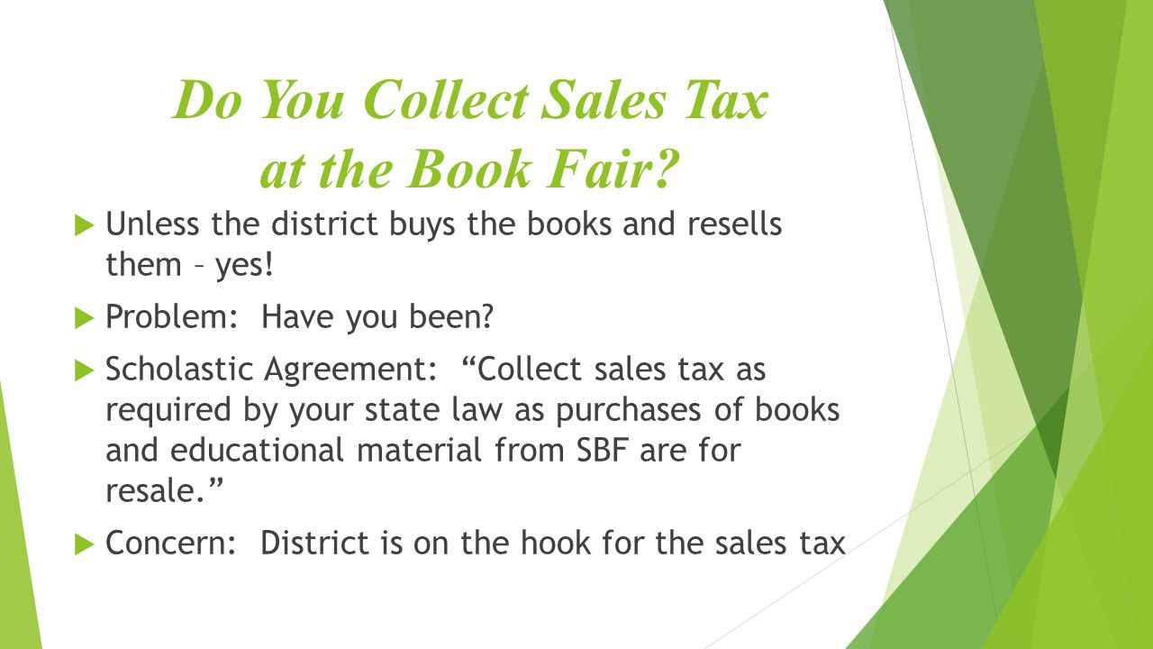 Do You Collect Sales Tax at the Book Fair.