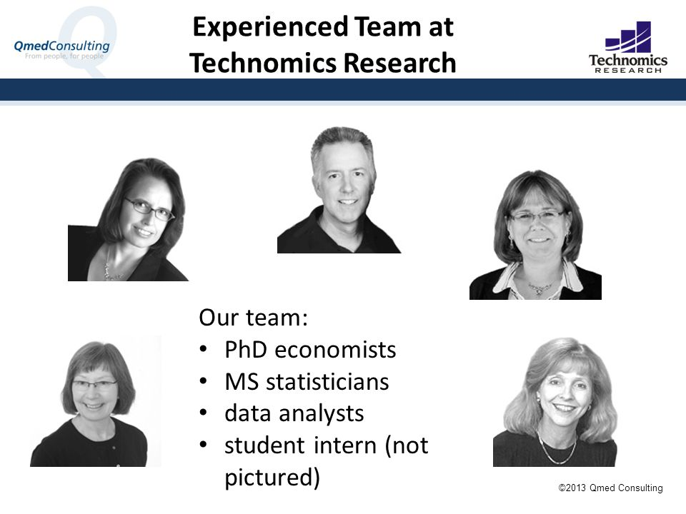 Experienced Team at Technomics Research Our team: PhD economists MS statisticians data analysts student intern (not pictured) ©2013 Qmed Consulting