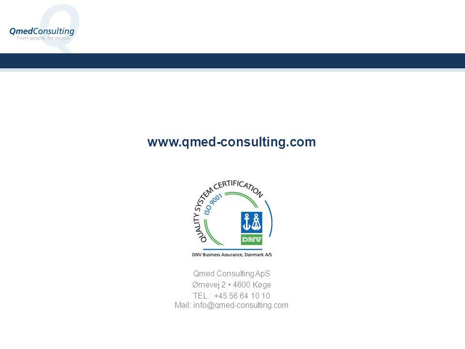 Qmed Consulting ApS Ørnevej 2 4600 Køge TEL.: +45 56 64 10 10 Mail: info@qmed-consulting.com www.qmed-consulting.com
