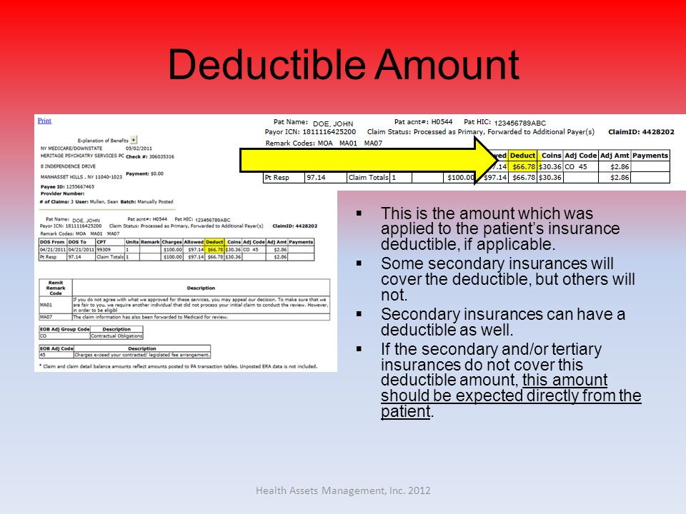 Deductible Amount  This is the amount which was applied to the patient's insurance deductible, if applicable.