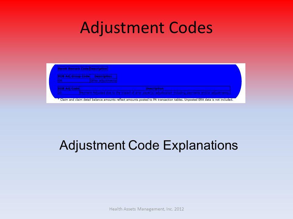 Adjustment Codes Adjustment Code Explanations Health Assets Management, Inc. 2012