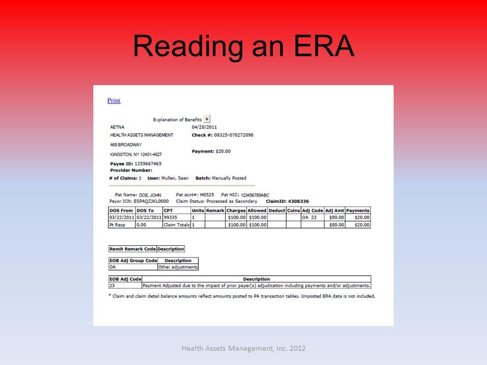 Reading an ERA Health Assets Management, Inc. 2012