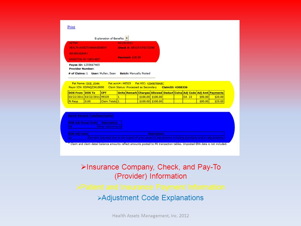  Insurance Company, Check, and Pay-To (Provider) Information  Patient and Insurance Payment Information  Adjustment Code Explanations Health Assets Management, Inc.