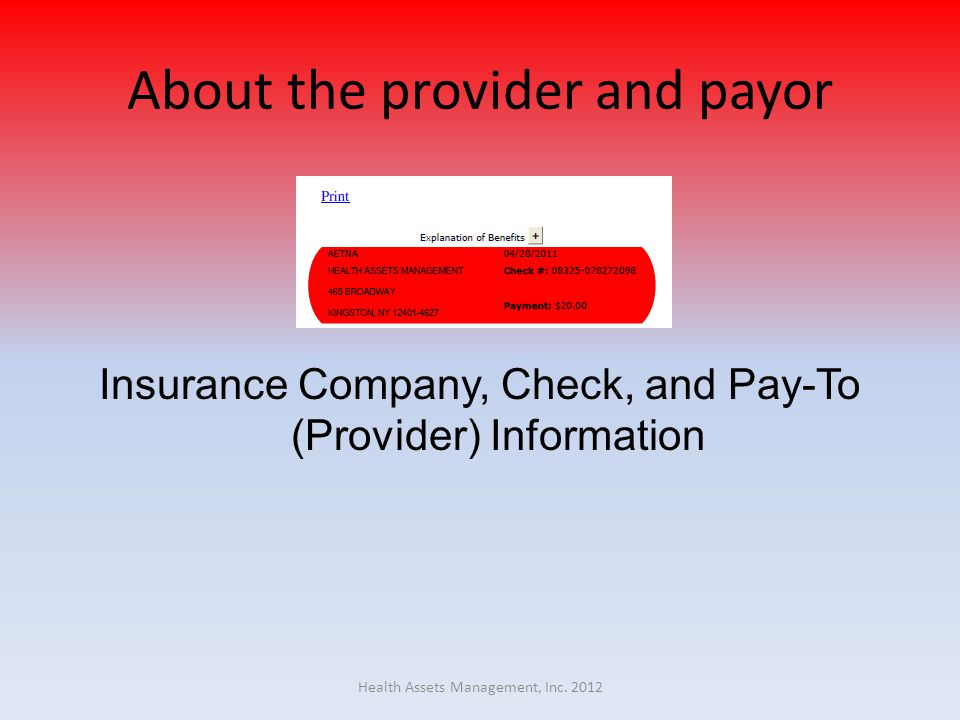 About the provider and payor Insurance Company, Check, and Pay-To (Provider) Information Health Assets Management, Inc.