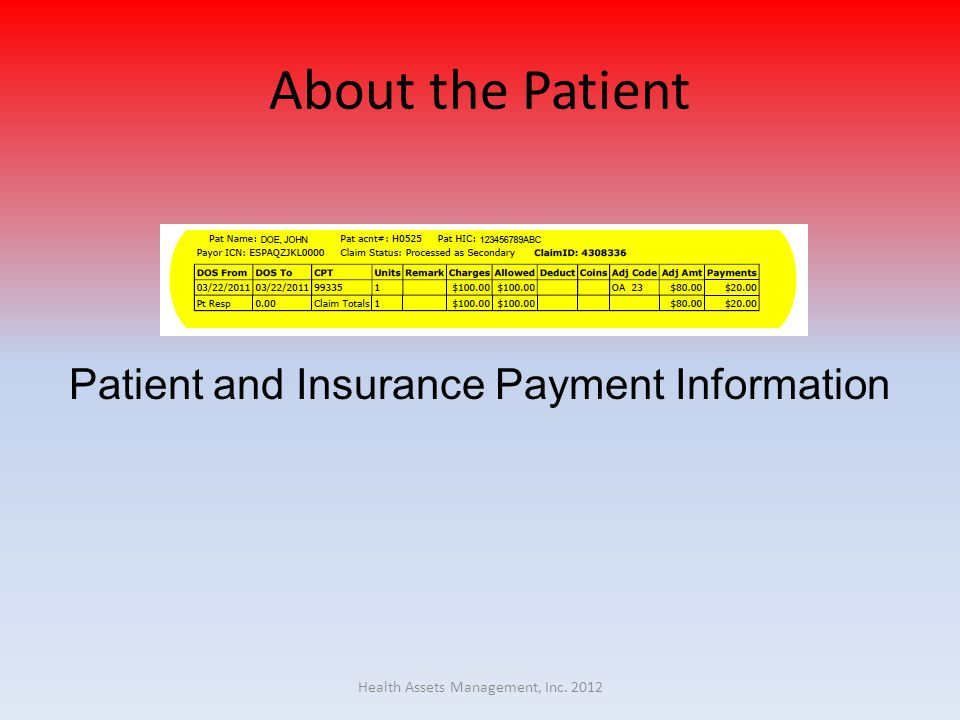 About the Patient Patient and Insurance Payment Information Health Assets Management, Inc. 2012