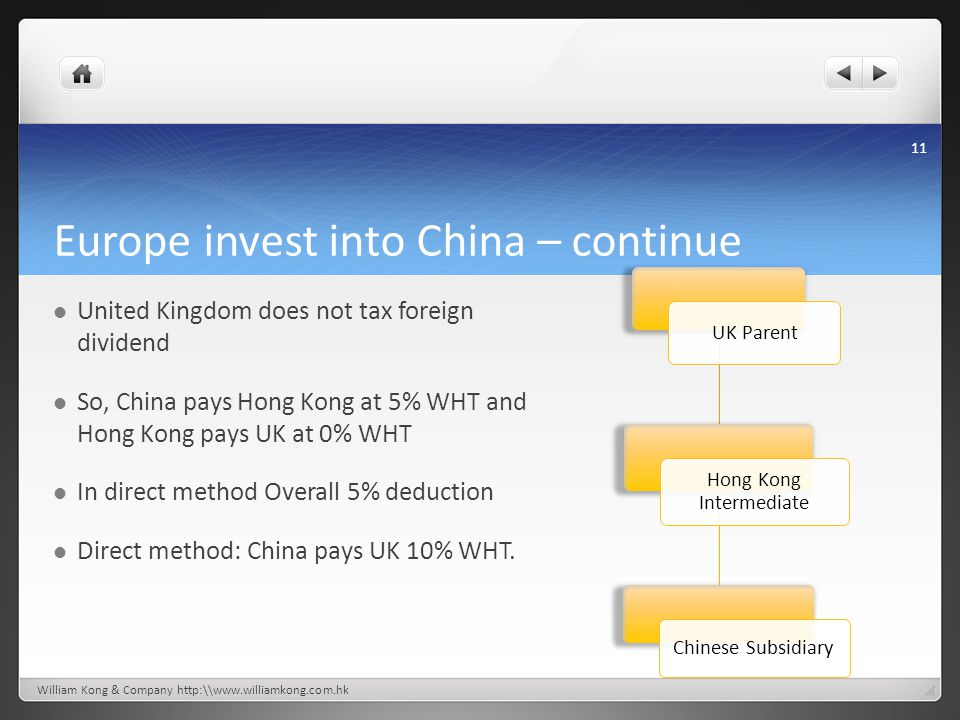 Europe invest into China – continue United Kingdom does not tax foreign dividend So, China pays Hong Kong at 5% WHT and Hong Kong pays UK at 0% WHT In