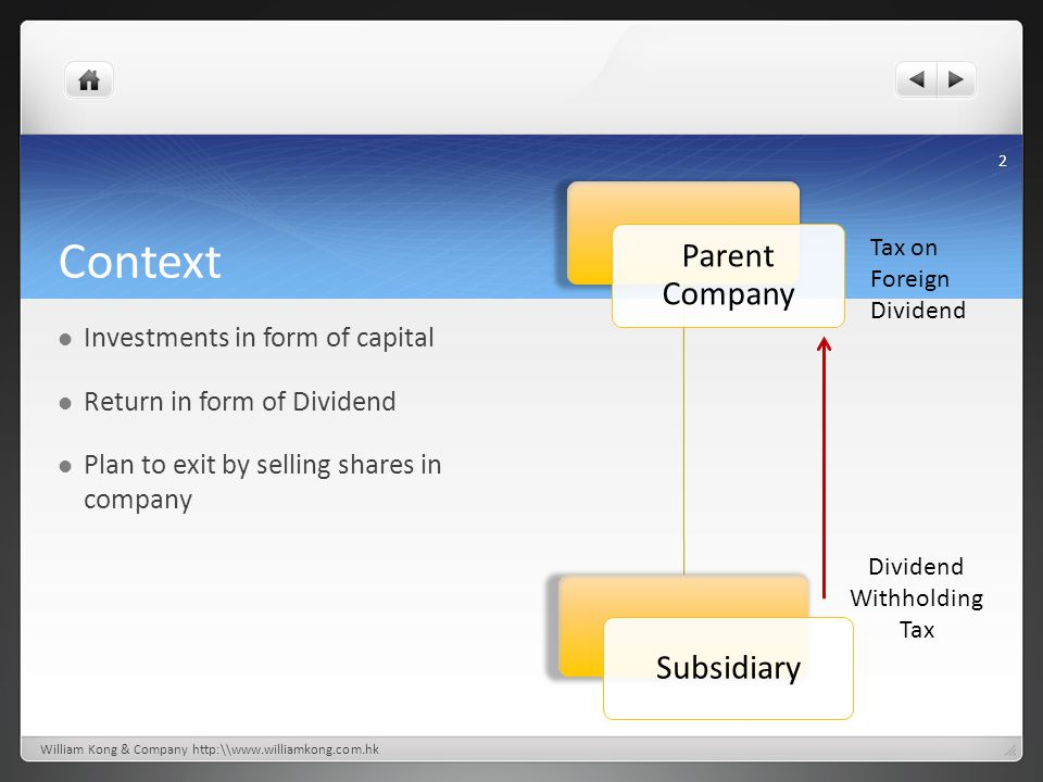 Context Investments in form of capital Return in form of Dividend Plan to exit by selling shares in company 2 Parent Company Subsidiary Dividend Withh