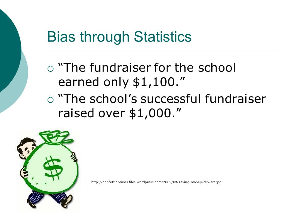 Bias through Statistics  The fundraiser for the school earned only $1,100.  The school's successful fundraiser raised over $1,000. http://confettidreams.files.wordpress.com/2009/08/saving-money-clip-art.jpg