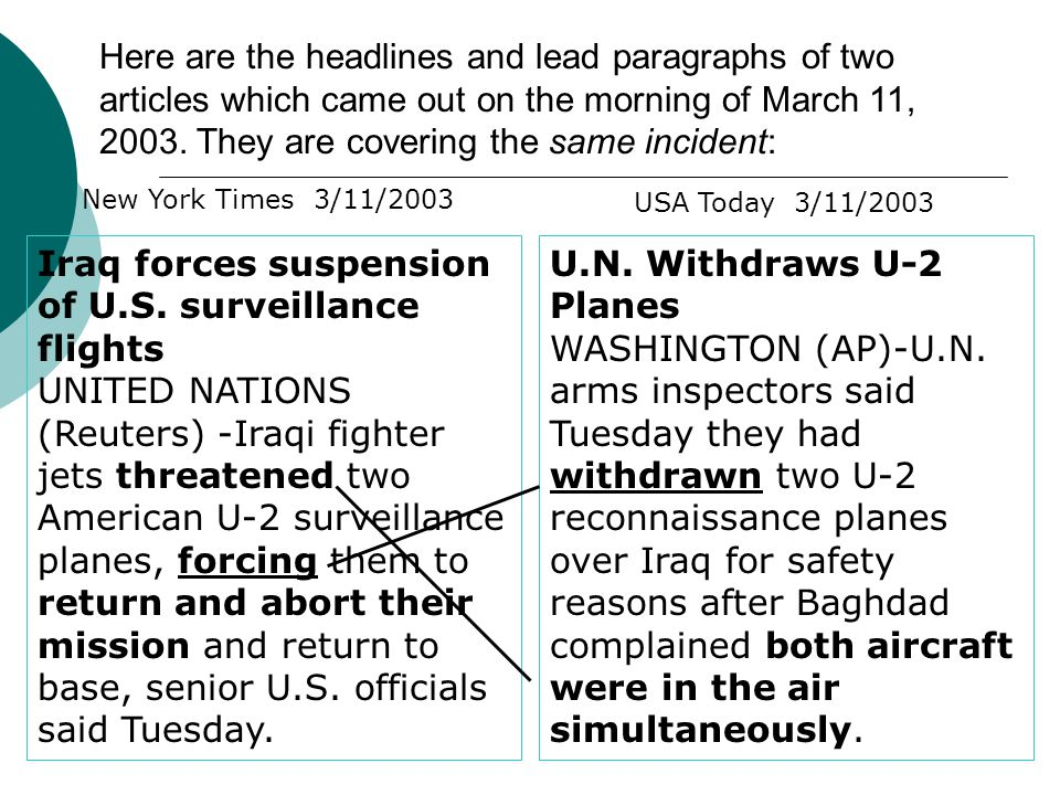 Here are the headlines and lead paragraphs of two articles which came out on the morning of March 11, 2003.