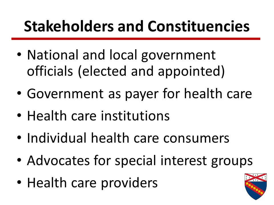 Values that Influence Policy Making Equity in access to care and outcomes Quality of care and accountability Personal responsibility Professional ethics Consumer sovereignty Privacy, confidentiality Informed consent Social welfare and cost to society Rationing
