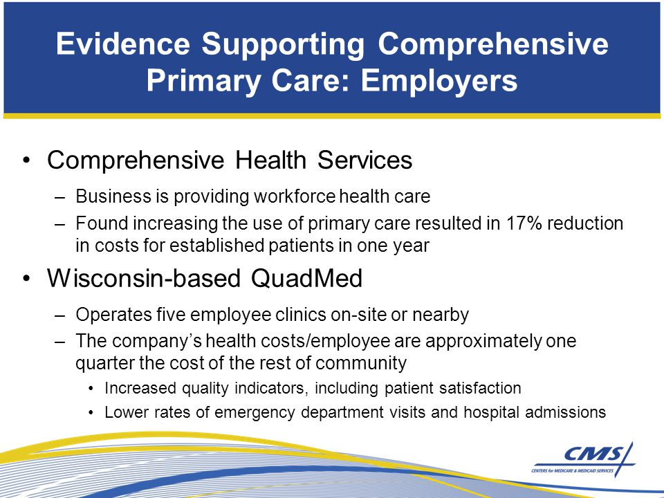 Comprehensive Health Services –Business is providing workforce health care –Found increasing the use of primary care resulted in 17% reduction in costs for established patients in one year Wisconsin-based QuadMed –Operates five employee clinics on-site or nearby –The company's health costs/employee are approximately one quarter the cost of the rest of community Increased quality indicators, including patient satisfaction Lower rates of emergency department visits and hospital admissions Evidence Supporting Comprehensive Primary Care: Employers