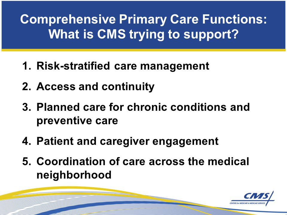 1.Risk-stratified care management 2.Access and continuity 3.Planned care for chronic conditions and preventive care 4.Patient and caregiver engagement 5.Coordination of care across the medical neighborhood Comprehensive Primary Care Functions: What is CMS trying to support