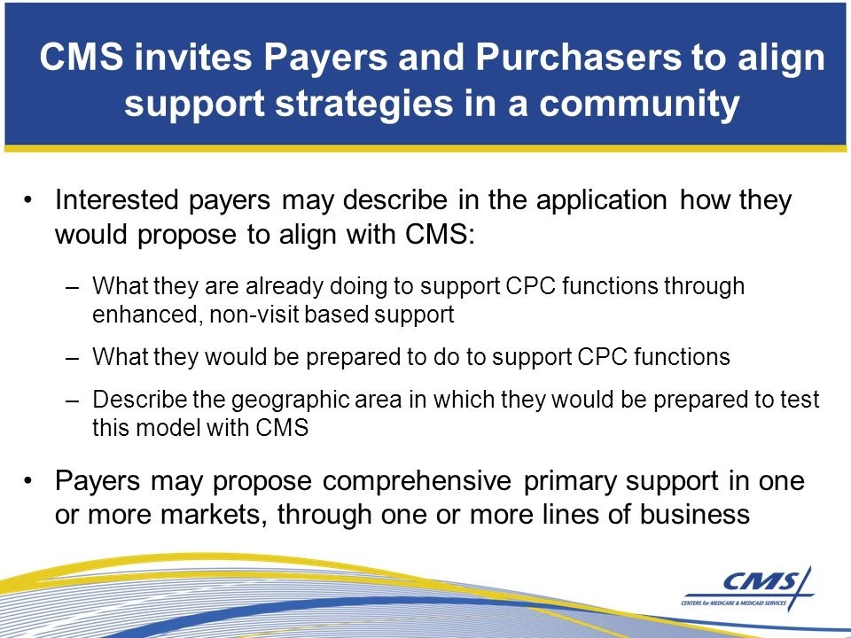 CMS invites Payers and Purchasers to align support strategies in a community Interested payers may describe in the application how they would propose to align with CMS: –What they are already doing to support CPC functions through enhanced, non-visit based support –What they would be prepared to do to support CPC functions –Describe the geographic area in which they would be prepared to test this model with CMS Payers may propose comprehensive primary support in one or more markets, through one or more lines of business