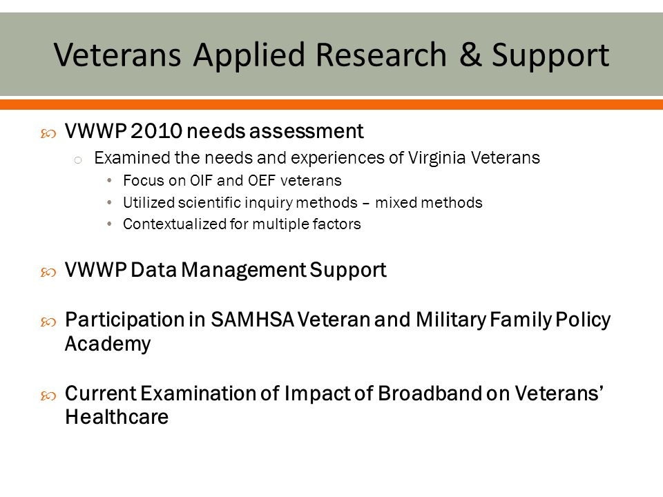  Veterans are faced with wide-ranging and complex health needs.