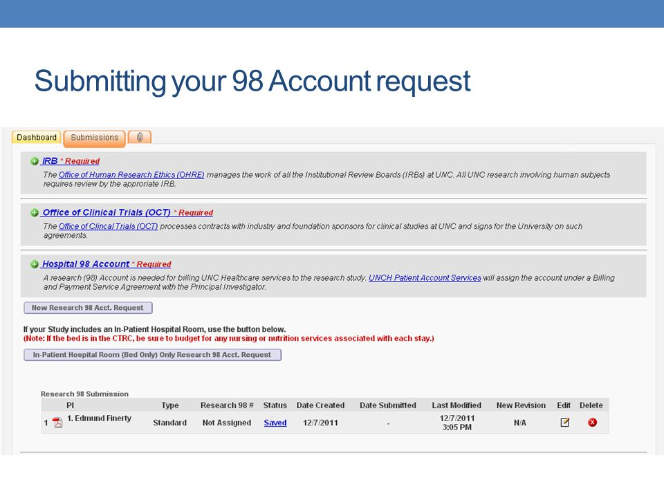 Submitting your 98 Account request