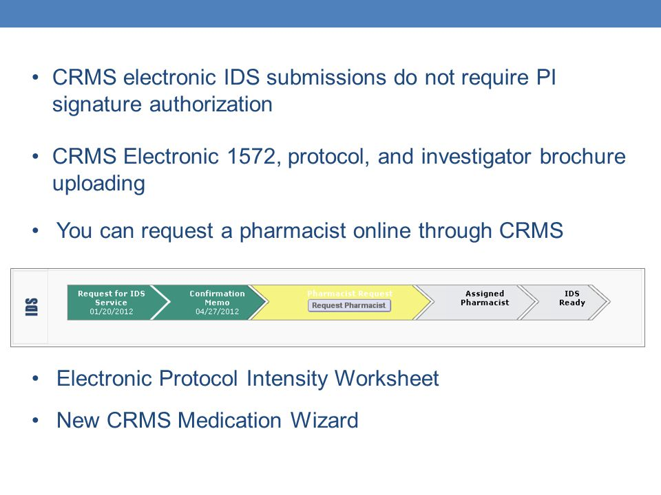 CRMS electronic IDS submissions do not require PI signature authorization CRMS Electronic 1572, protocol, and investigator brochure uploading You can