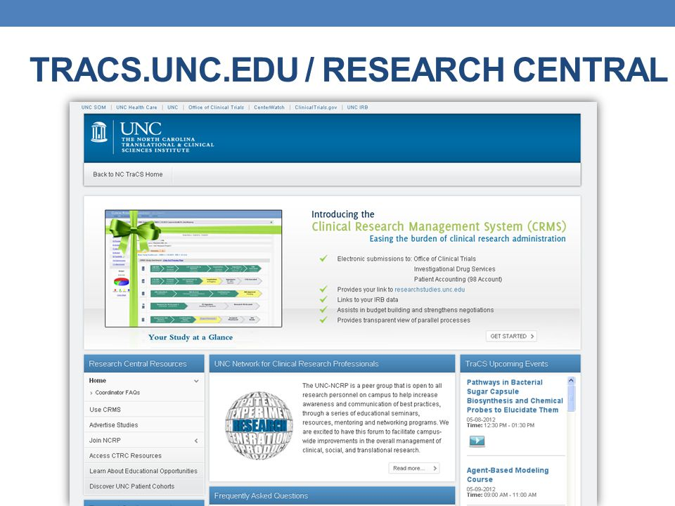 TRACS.UNC.EDU / RESEARCH CENTRAL