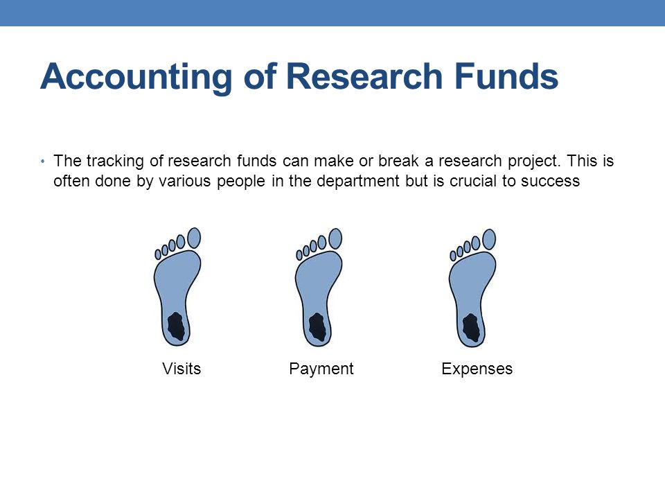 Accounting of Research Funds The tracking of research funds can make or break a research project. This is often done by various people in the departme