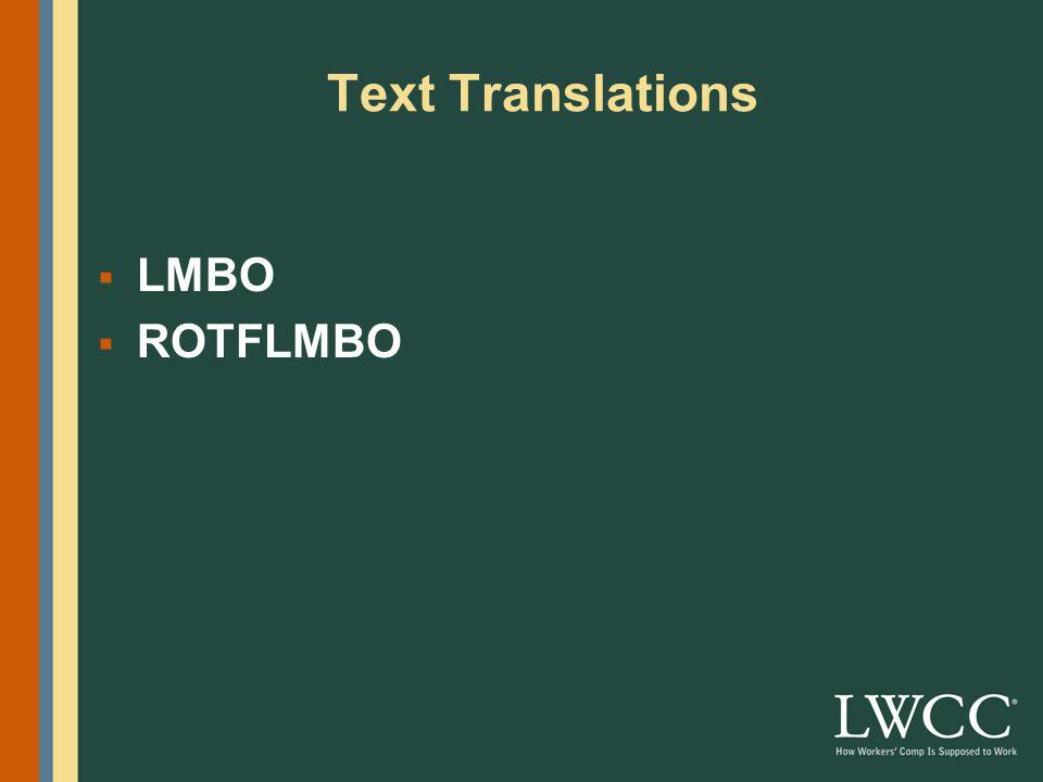 Text Translations  LMBO  ROTFLMBO