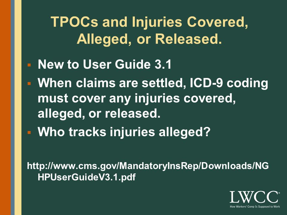 TPOCs and Injuries Covered, Alleged, or Released.