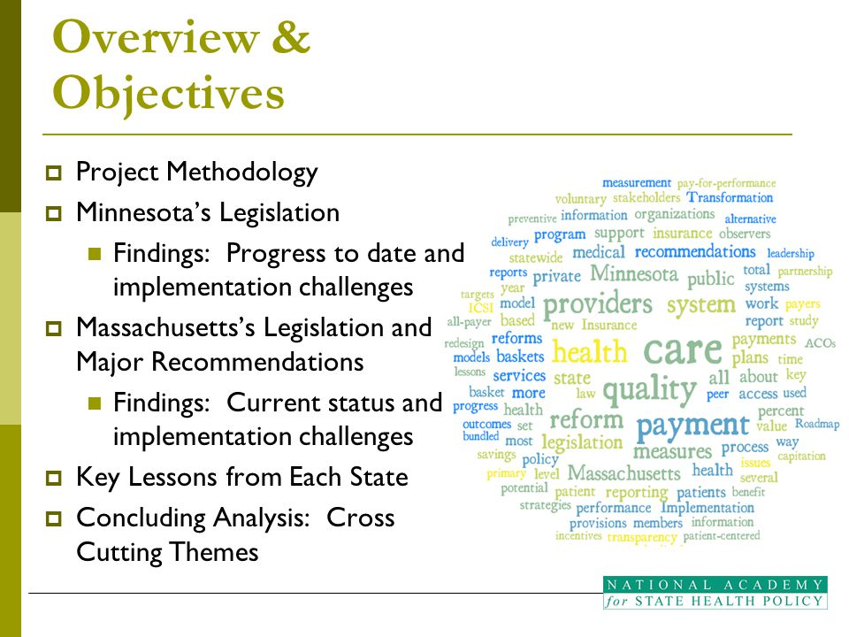 Overview & Objectives  Project Methodology  Minnesota's Legislation Findings: Progress to date and implementation challenges  Massachusetts's Legis