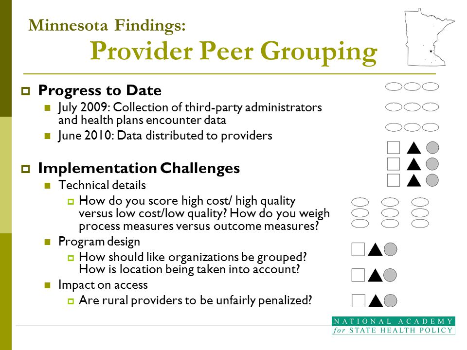 Provider Peer Grouping  Progress to Date July 2009: Collection of third-party administrators and health plans encounter data June 2010: Data distributed to providers  Implementation Challenges Technical details  How do you score high cost/ high quality versus low cost/low quality.