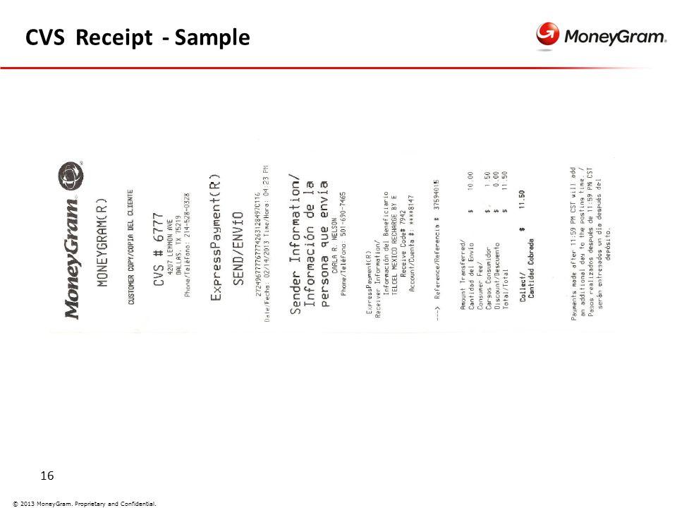 16 © 2013 MoneyGram. Proprietary and Confidential. CVS Receipt - Sample
